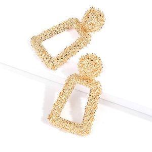 Geometric Gold Womens Rectangular Fashion earring